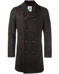 Eleventy Plaid Double Breasted Coat