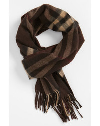Burberry Giant Check Cashmere Scarf Dark Chestnut Brown One Size