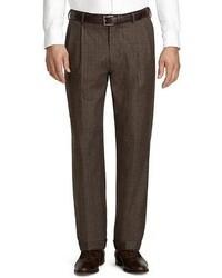 Dark Brown Plaid Wool Dress Pants