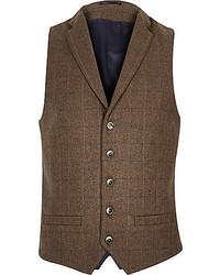 Dark Brown Plaid Wool Waistcoat