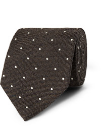 Dunhill Polka Dot Embroidered Wool And Silk Blend Tie