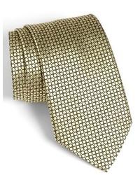 Ermenegildo Zegna Solid Circle Grid Woven Silk Tie