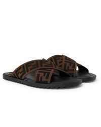 Fendi Logo Appliqud Webbing Sandals