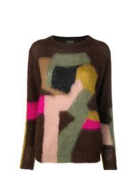 Dark Brown Print Crew Neck Sweaters For Women Womens Fashion