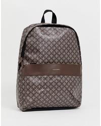 Dark Brown Print Leather Backpack