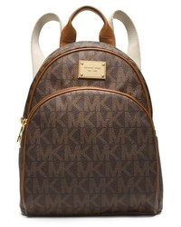 Dark Brown Print Leather Backpack