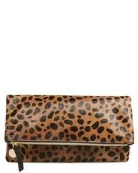 Clare v genuine calf hair leopard print foldover clutch medium 518036