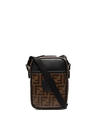 Dark Brown Print Leather Messenger Bag