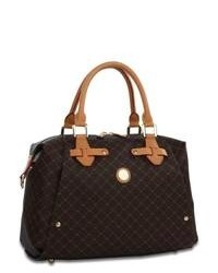 Dark Brown Print Leather Satchel Bag