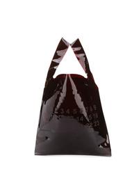 Dark Brown Print Leather Tote Bag