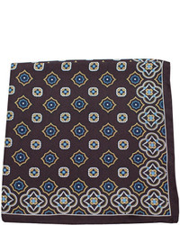 Dark Brown Print Pocket Square