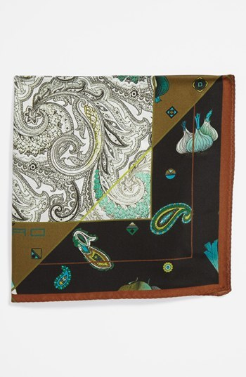 Etro Silk Pocket Square Brown One Size