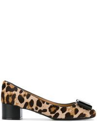Salvatore Ferragamo Leopard Print Block Heel Pumps