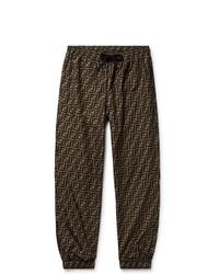 Fendi Tapered Logo Print Shell Drawstring Trousers