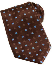 Charvet Neat Square Silk Tie Brownlight Blue