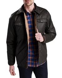 Dark Brown Quilted Shirt Jacket