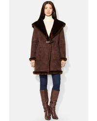 Faux shearling hooded coat medium 141319