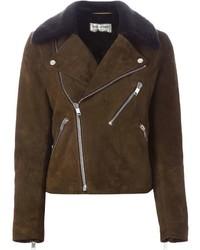 Saint Laurent Fur Lined Biker Jacket