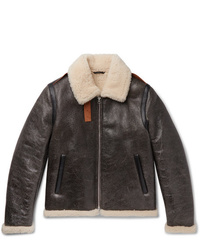 Acne Studios Shearling Lined Textured Leather Jacket