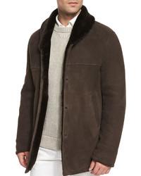 Uptown button down shearling jacket dark brown medium 343211