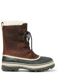 Sorel Caribou Faux Shearling Trimmed Waterproof Leather And Rubber Snow Boots