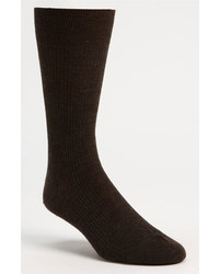 Pantherella Merino Wool Mid Calf Dress Socks Dark Brown 08 Regular