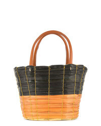 Dark Brown Straw Bucket Bag