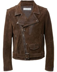 Dark Brown Suede Biker Jacket