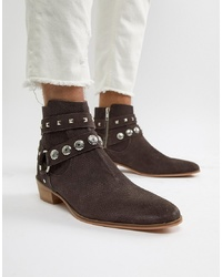House of Hounds Leonel Studded Cuban Boots In Brown Snake Print Suede