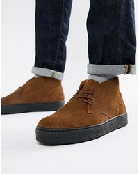 Zign Cupsole Desert Boots In Brown Suede