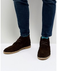 Dune Desert Boots In Brown Suede