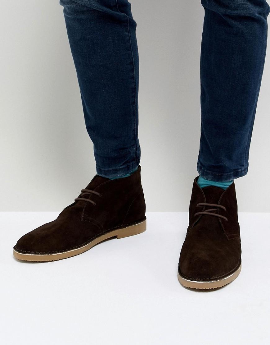 Dune Desert Boots In Brown Suede