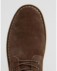 Asos Desert Boots In Brown Suede Wide Fit Available