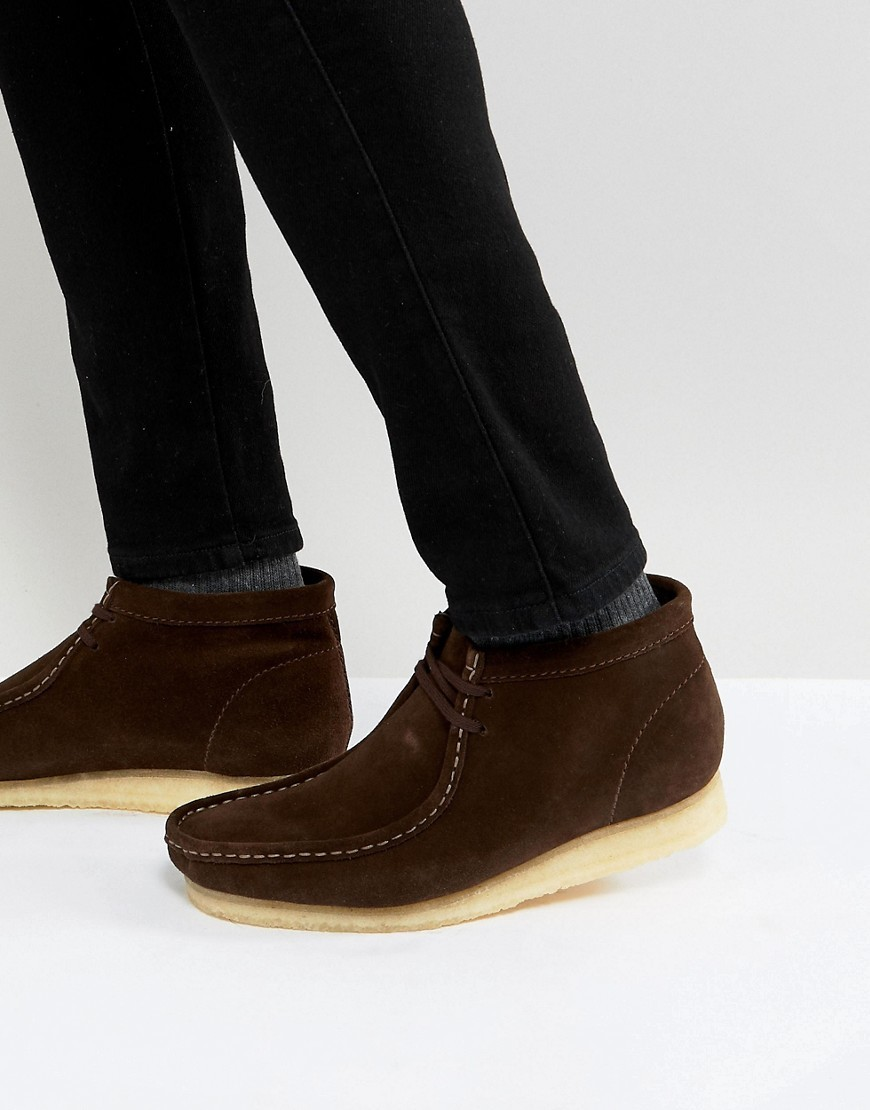 Clarks Originals Wallabee Suede Boots In Brown