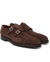 George Cleverley Thomas Suede Monk Strap Shoes