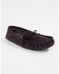 Totes Check Lined Cord Moccasin Slippers