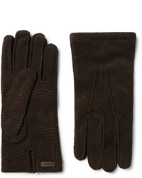 Prada Cashmere Lined Textured Suede Gloves