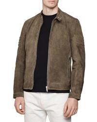 Dark Brown Suede Harrington Jacket