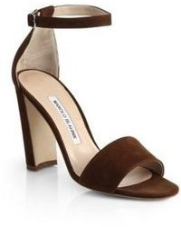 Dark Brown Suede Heeled Sandals