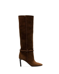 Saint Laurent Brown Mica 75 Knee High Slouch Suede Boots