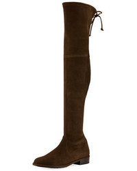 Dark Brown Suede Over The Knee Boots