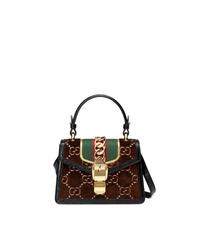 Gucci Brown Sylvie Gg Velvet Mini Bag
