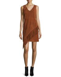 Diane von Furstenberg Jenn Suede Fringe Dress Whisky Brown