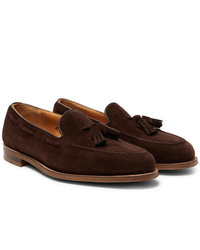 Edward Green Hampstead Leather Trimmed Suede Tasselled Loafers