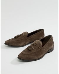 Kg Kurt Geiger Kg By Kurt Geiger Tassel Loafers In Brown Suede