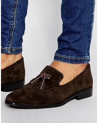 Loafers in brown suede with tassel medium 3726419