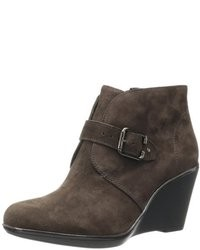 Dark Brown Suede Wedge Ankle Boots