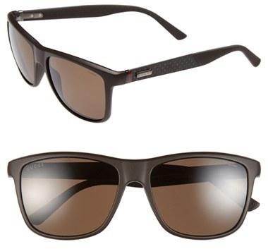 9a3ff6f02b ... Dark Brown Sunglasses Gucci 56mm Polarized Retro Sunglasses ...