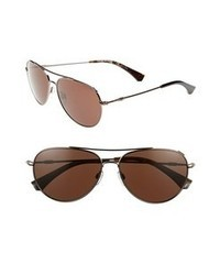Emporio Armani 57mm Aviator Sunglasses Brown None