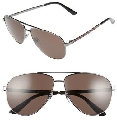 2dedab5a5ae ... Gucci 61mm Aviator Sunglasses Dark Ruthenium Brown Grey ...